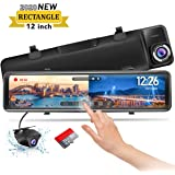 """PORMIDO Mirror Dash Cam Backup Camera 12""""Large Full Touch Split Screen Front and Rear View Camera 1296P HD Waterproof…"""