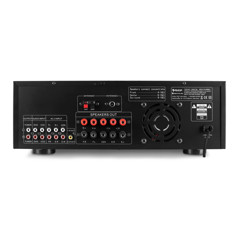 auna AMP-5100 • Home cinema • Sonido envolvente 5.1 • Amplificador • 1200 W • 2 entradas de micrófono • 2 Entradas RCA • 1 Entrada Jack • Ecualizador ...