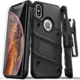 Zizo Bolt 系列兼容 iPhone Xs Max 手机壳*级跌落测试,钢化玻璃屏幕保护膜,皮套,支架1BOLT-IPHXSMAX-BKBK 黑色/黑色
