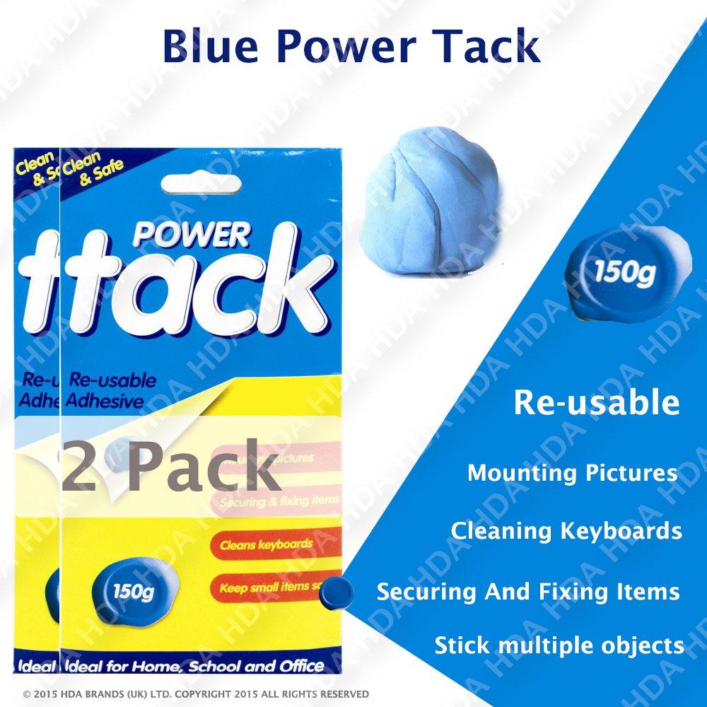 Blu di Tack 150g–Adesivo riutilizzabile pulito e sicuro–Stick più oggetti. Blue Power Tack 150gm Pack of 2 blu Schone Products (UK)