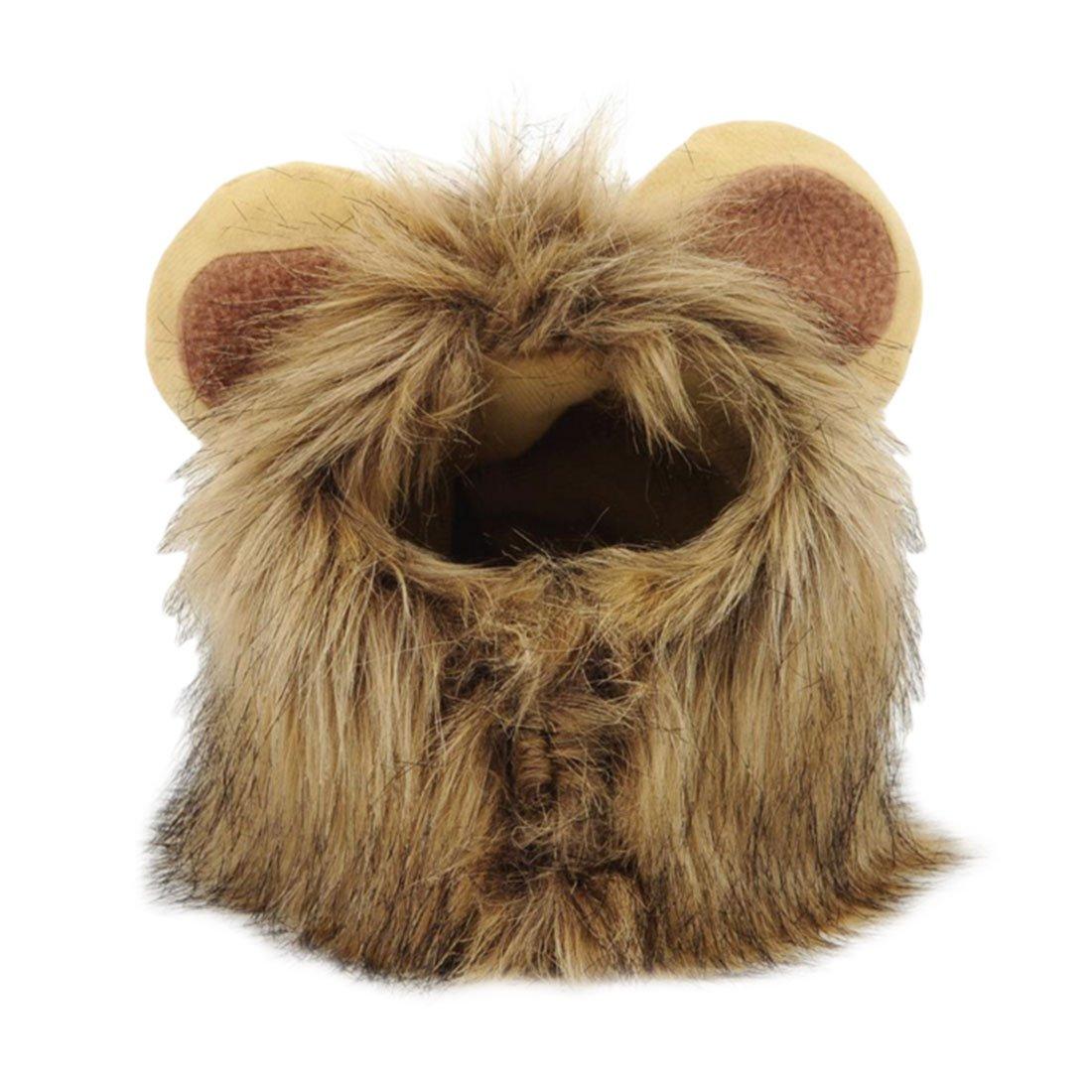 Perücke für Haustier, Katze, Hund, Nachbildung einer Löwenmähne mit Ohren, Mütze, Winterkostüm Mütze Winterkostüm Luwu-Store