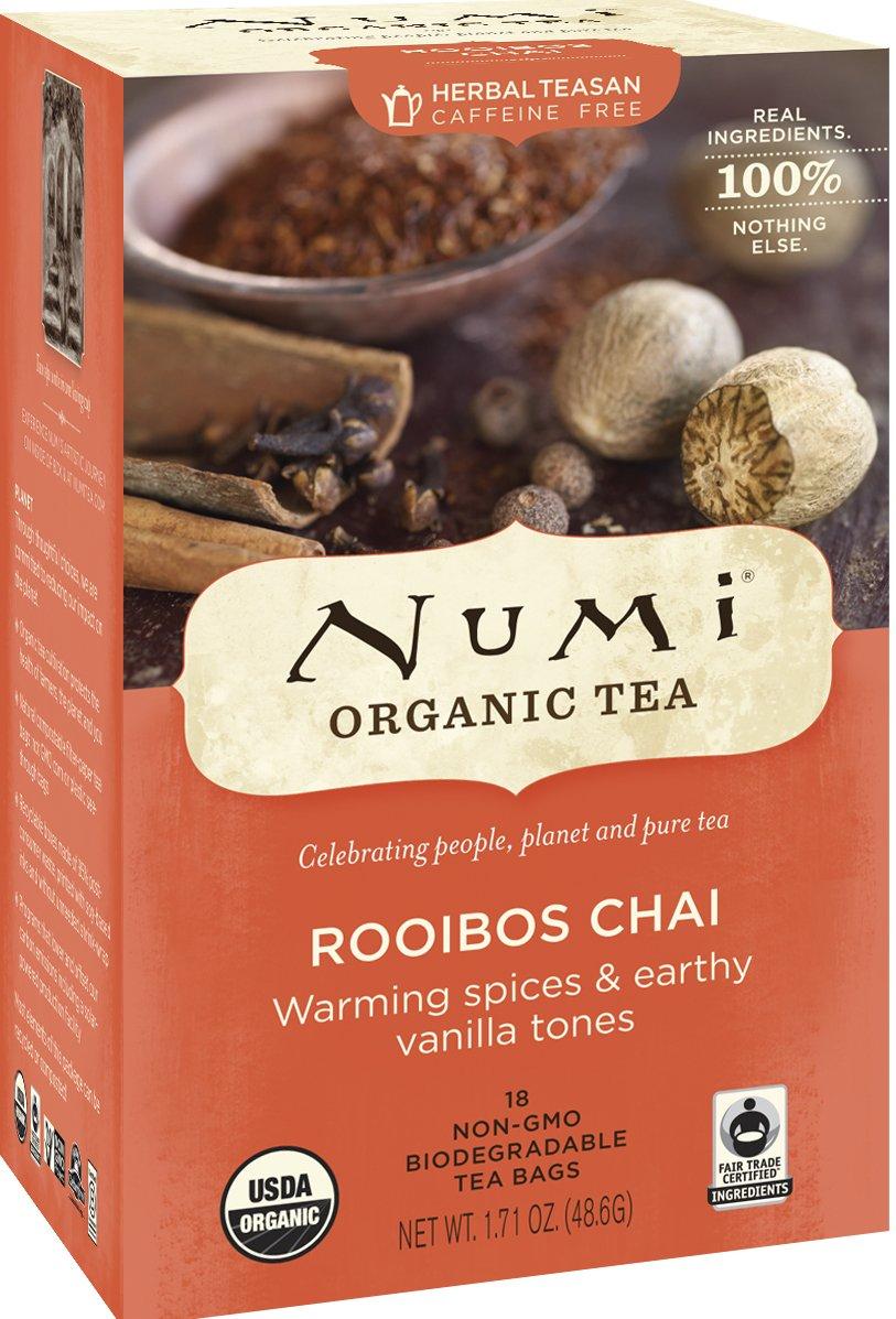 Numi Organic Tea Rooibos Chai, Caffeine Free Herbal Teasan, 18 Count non-GMO Tea Bags