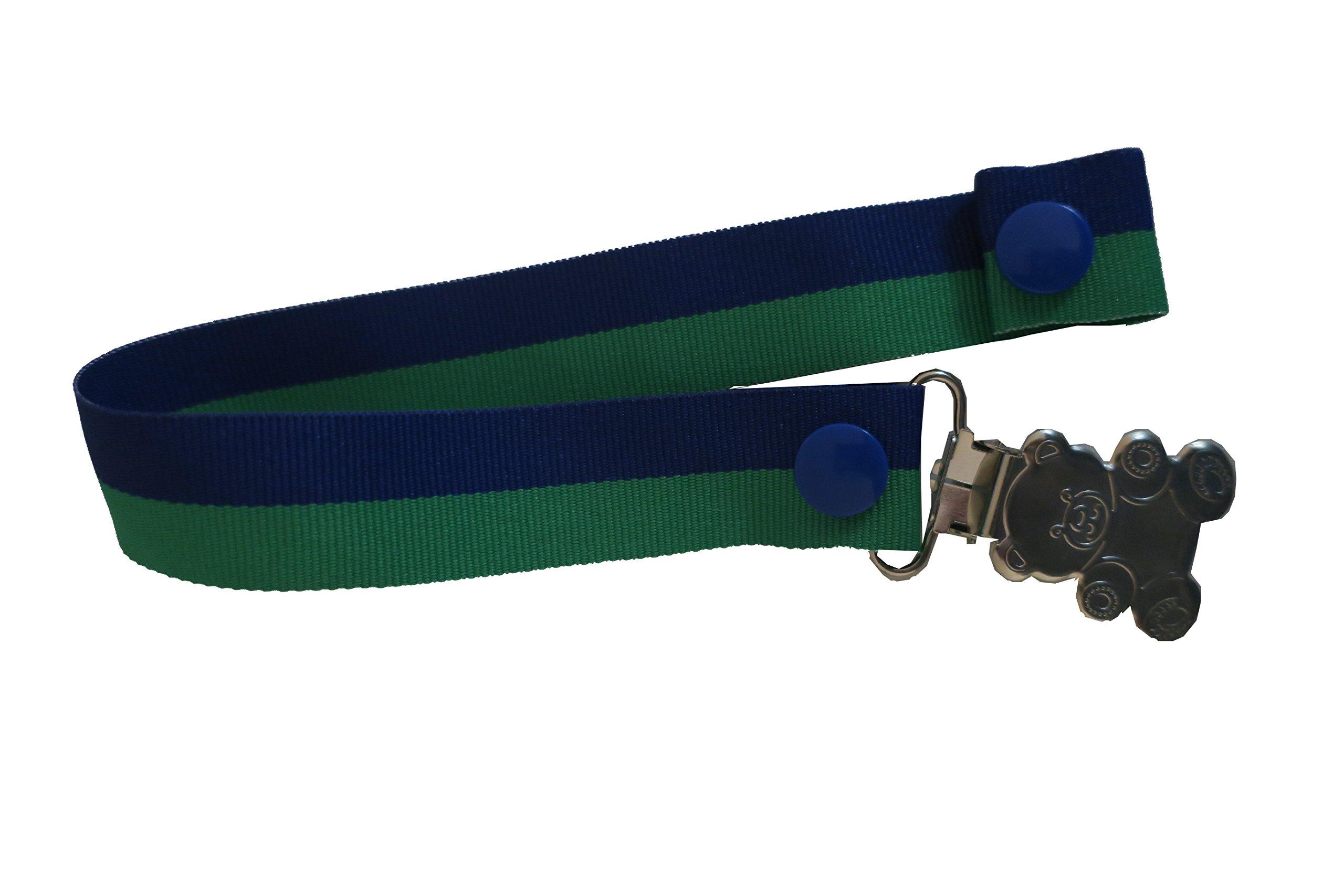 Pretty Paci Bi-Stripe Pacifier Clip, Royal Emerald by Pretty Paci
