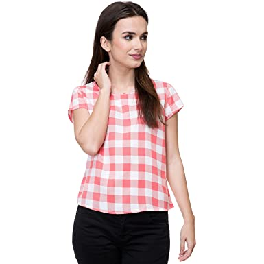30aa513cd5d993 Deewa Dark Pink   White Polycrepe Round Neck Casual Tops for Women  Amazon. in  Clothing   Accessories
