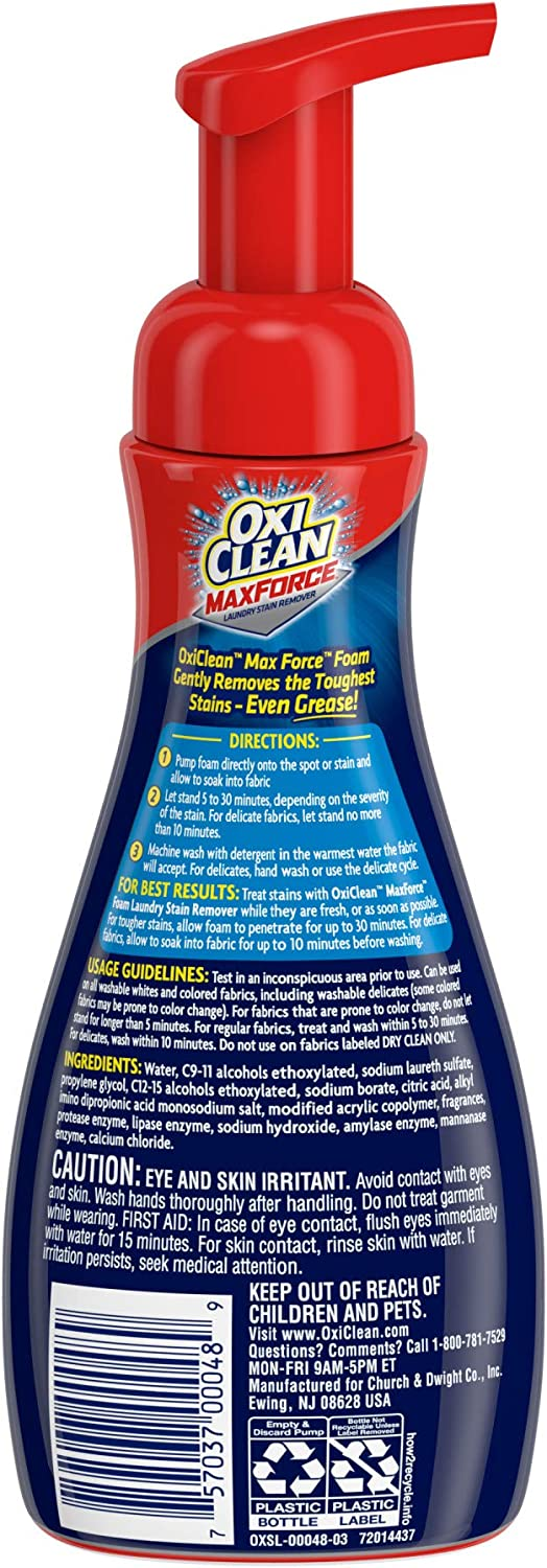 OxiClean Max Force Foam Laundry Pre-Treater, 9 oz: Health & Personal Care