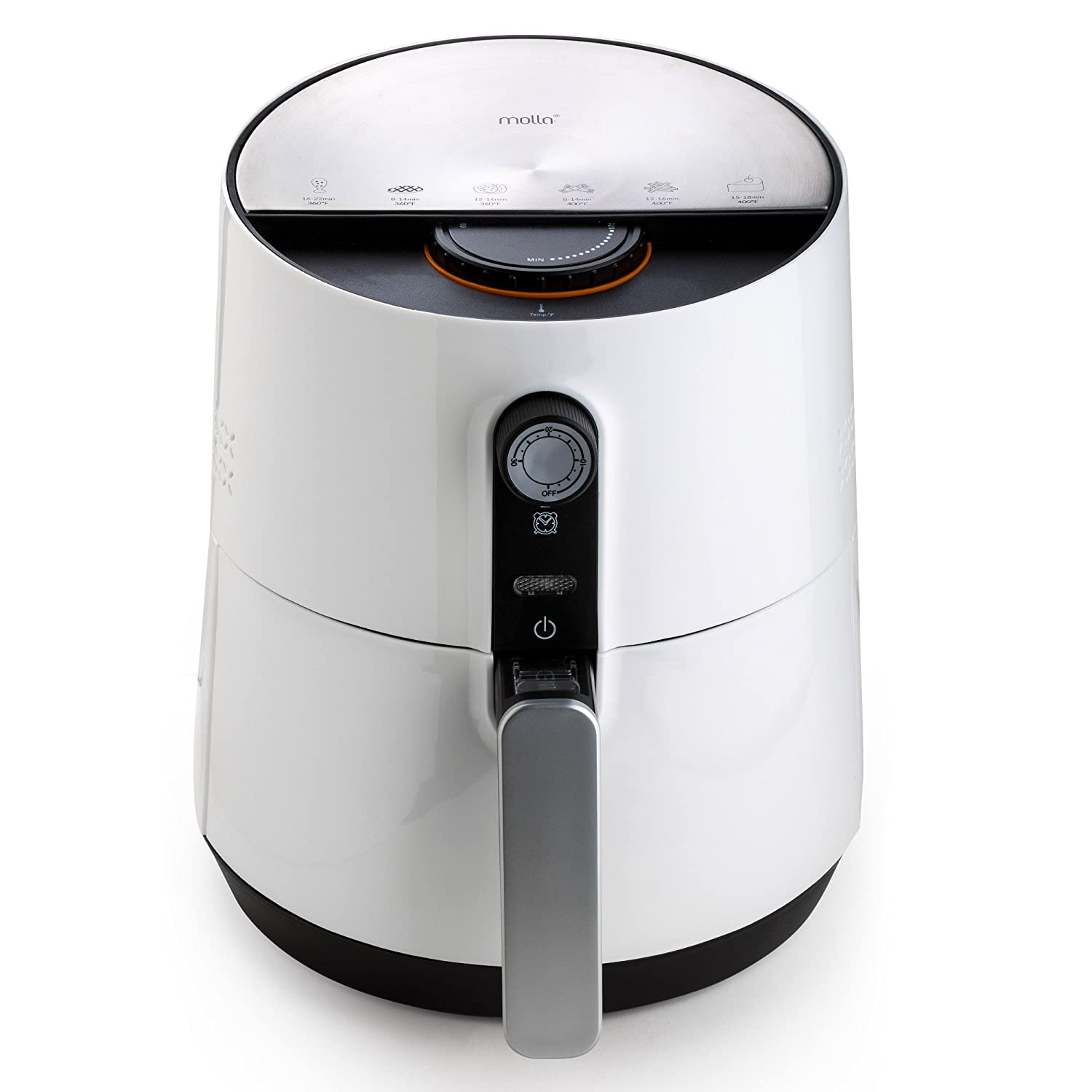 Molla AirSmart Air Fryer, 2.6L in Elegant White with Accessories and Gourmet Recipe Booklet