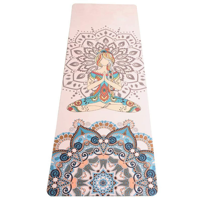 KuanDar Gummi-Yogamatte Rutschfeste, verschleißfeste PU-Fitnessmatte aus Naturkautschuk, lokale Matte 5mm, Körperlinie, Yogamatte