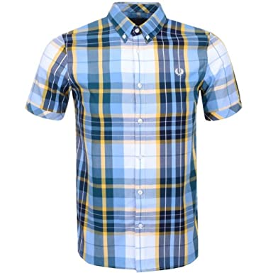 Mens Fred Perry Bright Madras Check Shirt White - Small
