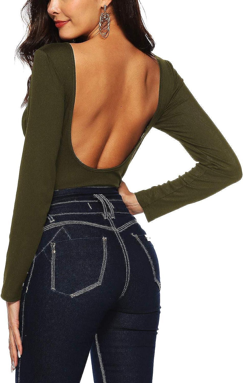 Dasior Womens V-Neck Backless Stretch Knit Bodysuit Jumpsuit Thong Leotard Romper