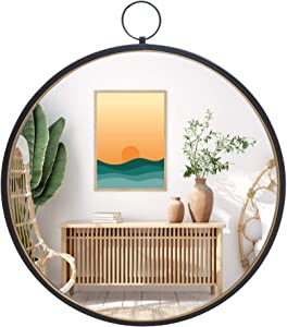 Black Round Mirrors for Wall Decor, Brushed Metal Frame Wall Mirror for Bedroom Bathroom Living Room Entryway