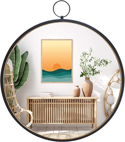 RiteSune Black Mirrors for Wall Decor, Brushed Metal Frame Round Wall Mirror for Bedroom Bathroom Living Room Entryway
