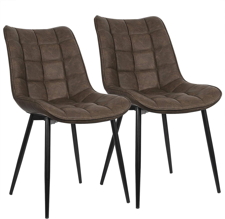 WOLTU Pack de 2 Sillas de Comedor Asiento de Cuero Artificial Silla Diseño Silla Tapizada Estructura Metálica Sillón con Respaldo Silla de Cocina Marrón