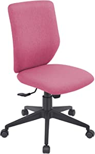 Bowthy Armless Office Chair Ergonomic Computer Task Desk Chair Without Arms Mid Back Fabric Swivel Chair (Rose Red)