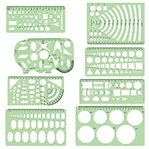 MEWTOGO 8 Pieces Geometric Drawings Templates Measuring Rulers,Circle and Oval Templates,Building Formwork Stencils,Drawing Templates Shapes for School Office Supplies