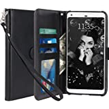Google Pixel 2 Case, LK [Wrist Strap] Luxury PU Leather Wallet Flip Protective Case Cover with Card Slots & Stand For Google Pixel 2 (Black)