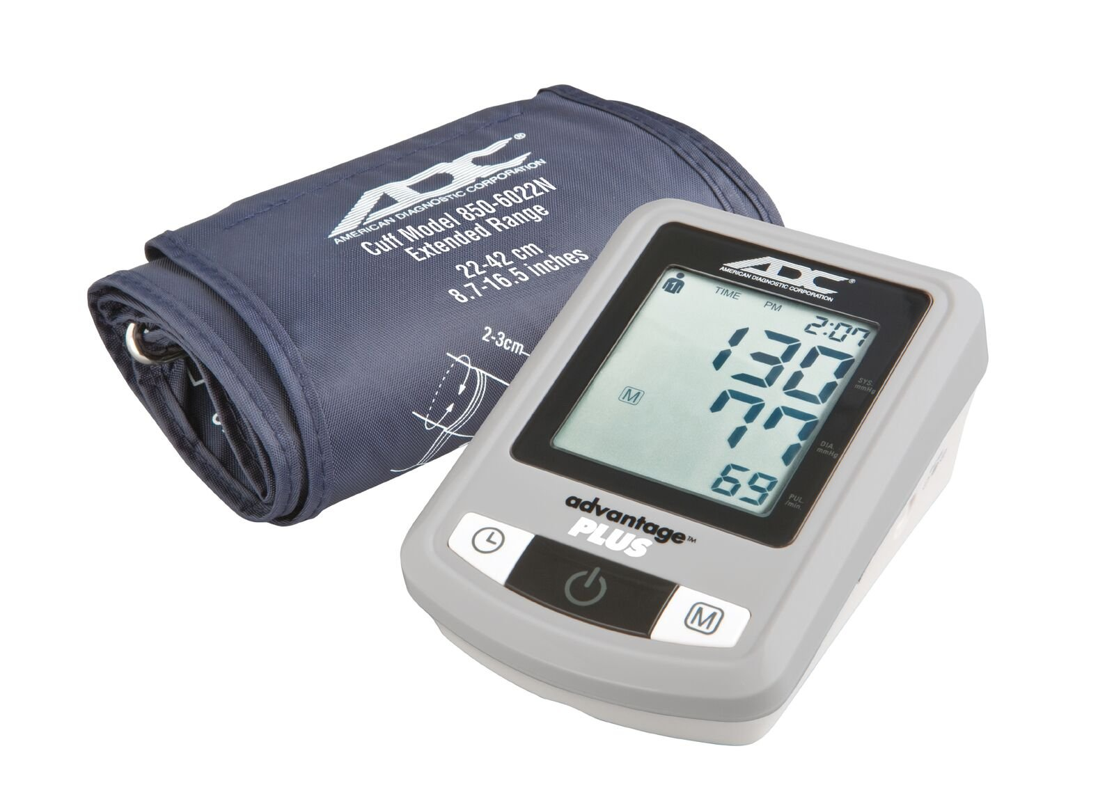 ADC Advantage Plus 6022N Automatic Digital Blood Pressure Monitor with Storage Case, BHS AA Rated, Wide-Range Adult Navy Upper-Arm BP Cuff
