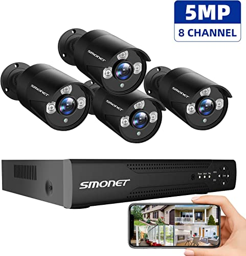 5MP 8Channel 5MP Surveillance Camera System, SMONET 5-in-1 DVR 8CH Security Camera System, 4pcs Wired 5MP 2560TVL Outdoor Waterproof Cameras with Night Vision Remote View NO HDD