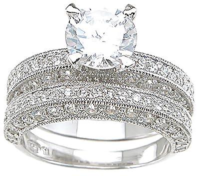 Amazoncom Vintage Style Wedding Engagement Ring Set in 925