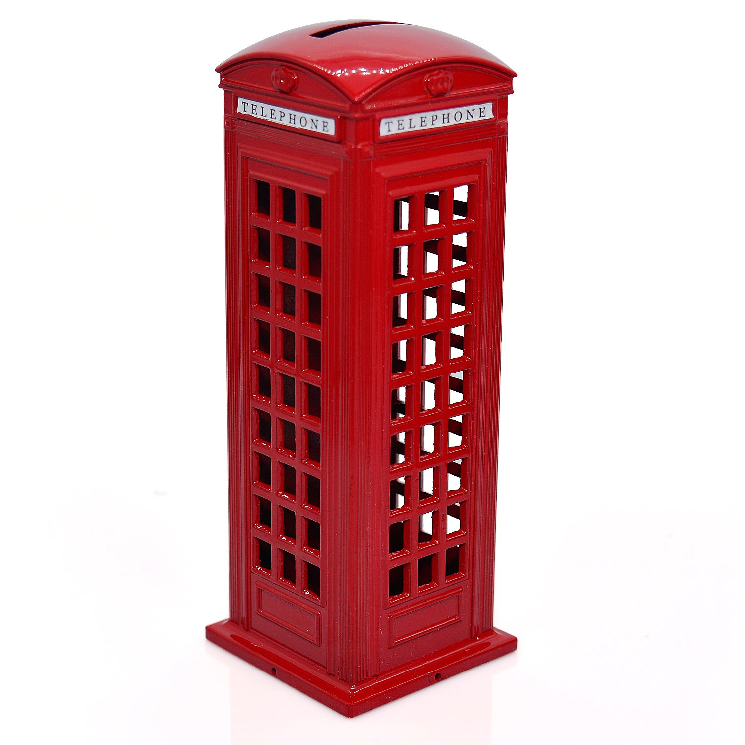 Cafurty Telephone Piggy Bank, Red Metal London Street Telephone Booth Piggy Bank Coin Bank Coin Box - Mini(5 H)