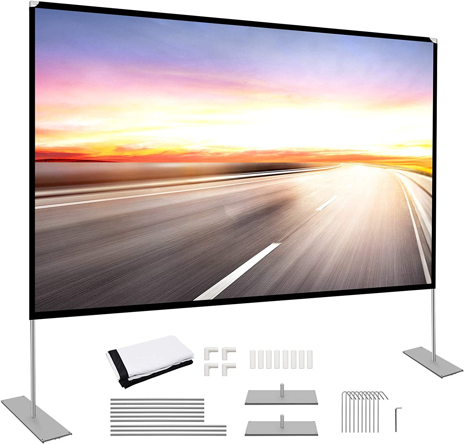 Projector Screen with Stand 100 inch Portable Projection