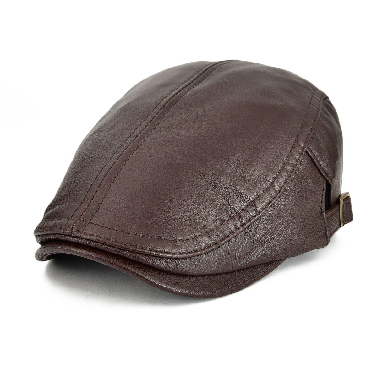 VOBOOM Men Women Adjustable Genuine Leather Ivy Cap Newsboy Hat 121 BDMZ121-Blk