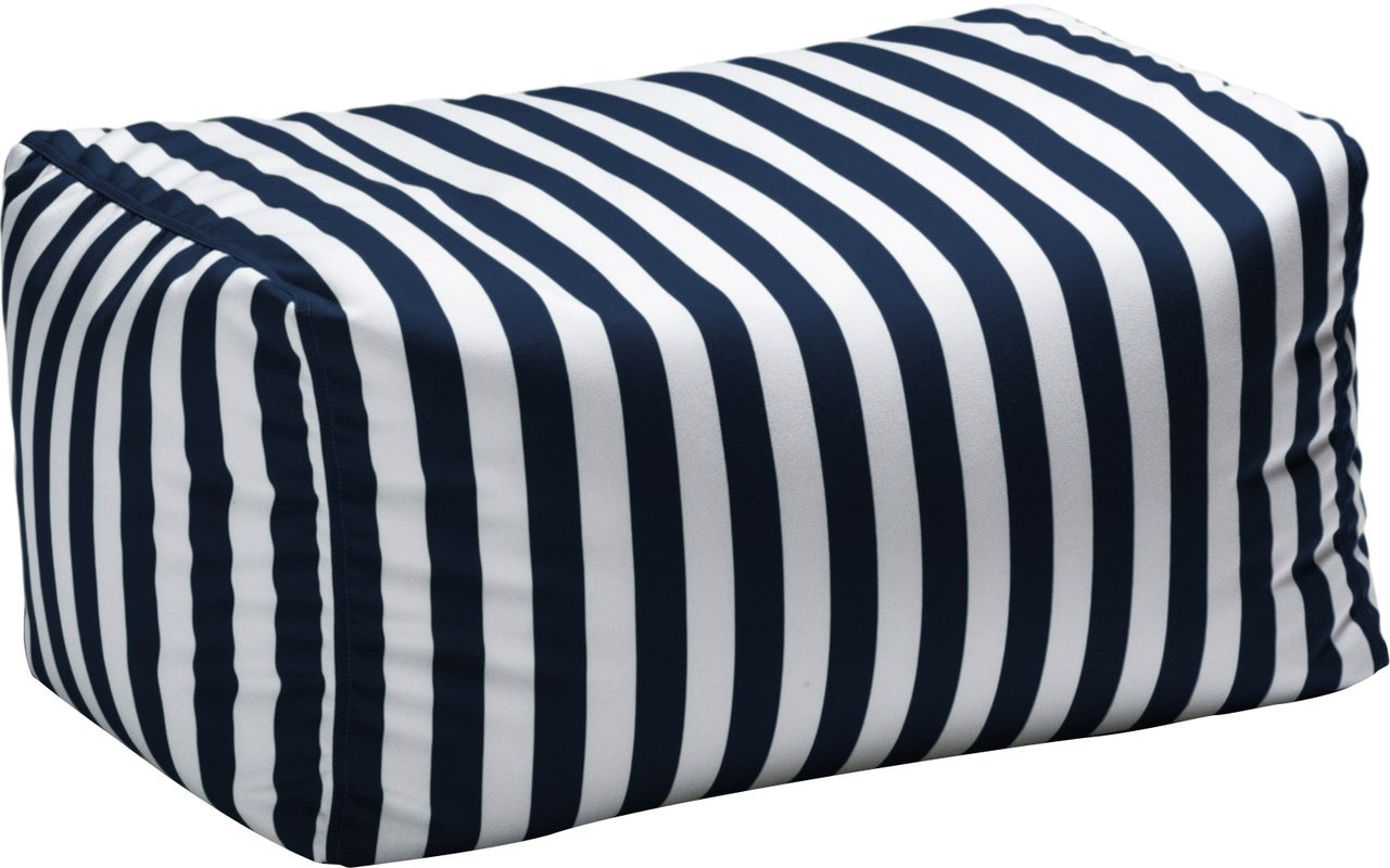Outdoor Striped Bean Bag Ottoman, Comfortable and Modern, Side-Table, Extra Seat, Fade, Mold, Stain, UV, and Weather Resistant Outer Cover, Inner Liner, Navy Striped