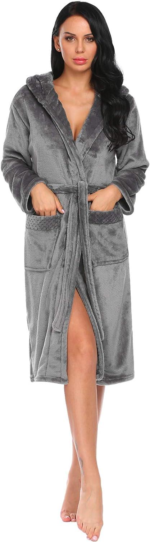 Hotouch Womens Plush Fleece Robe Ultra Soft Warm and Cozy Hooded Bathrobe