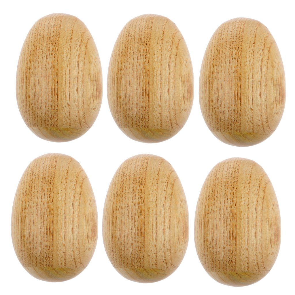 MonkeyJack 6 Pieces Handcrafted Wooden Egg Shaker Small Percussion Rattle Rhythm Musical Toys for Children