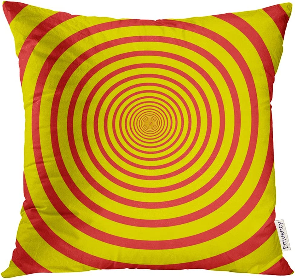 Upoos Throw Pillow Cover Red Circle Abstract Spiral In Bright Colors Optical Illusion Yellow Artistic Creative Decorative Pillow Case Home Decor Square 18x18 Inches Pillowcase Home Kitchen