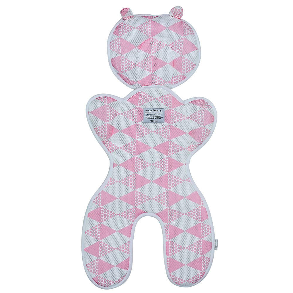 Topwon Baby Head Support Pillow Breathable 3D Mesh Cool Cursion Liner for Stroller,Pushchair,Car Seat (Pink)