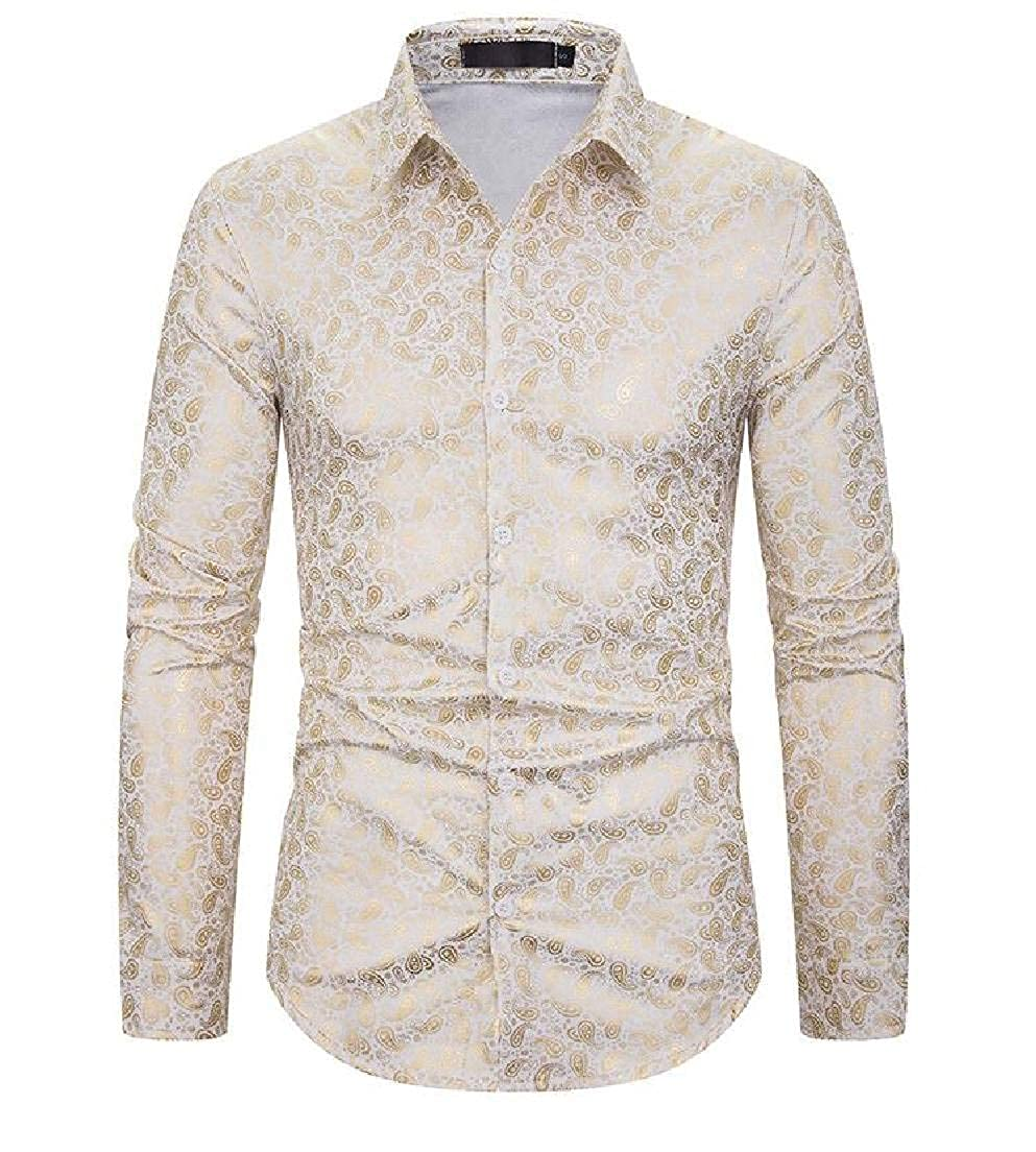 YYear Mens Paisley Printed Casual Button Luxury Long Sleeve Gold Shirts