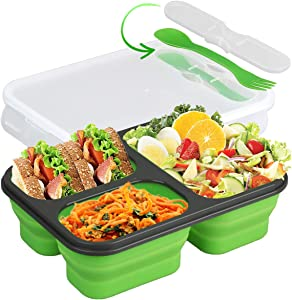 Collapsible Silicone Bento Box—3-Compartment Eco Silicone Collapsible BentoLunch Box Kit-BPA Free, Safe in Microwave, Dishwasher & Freezer (Green)