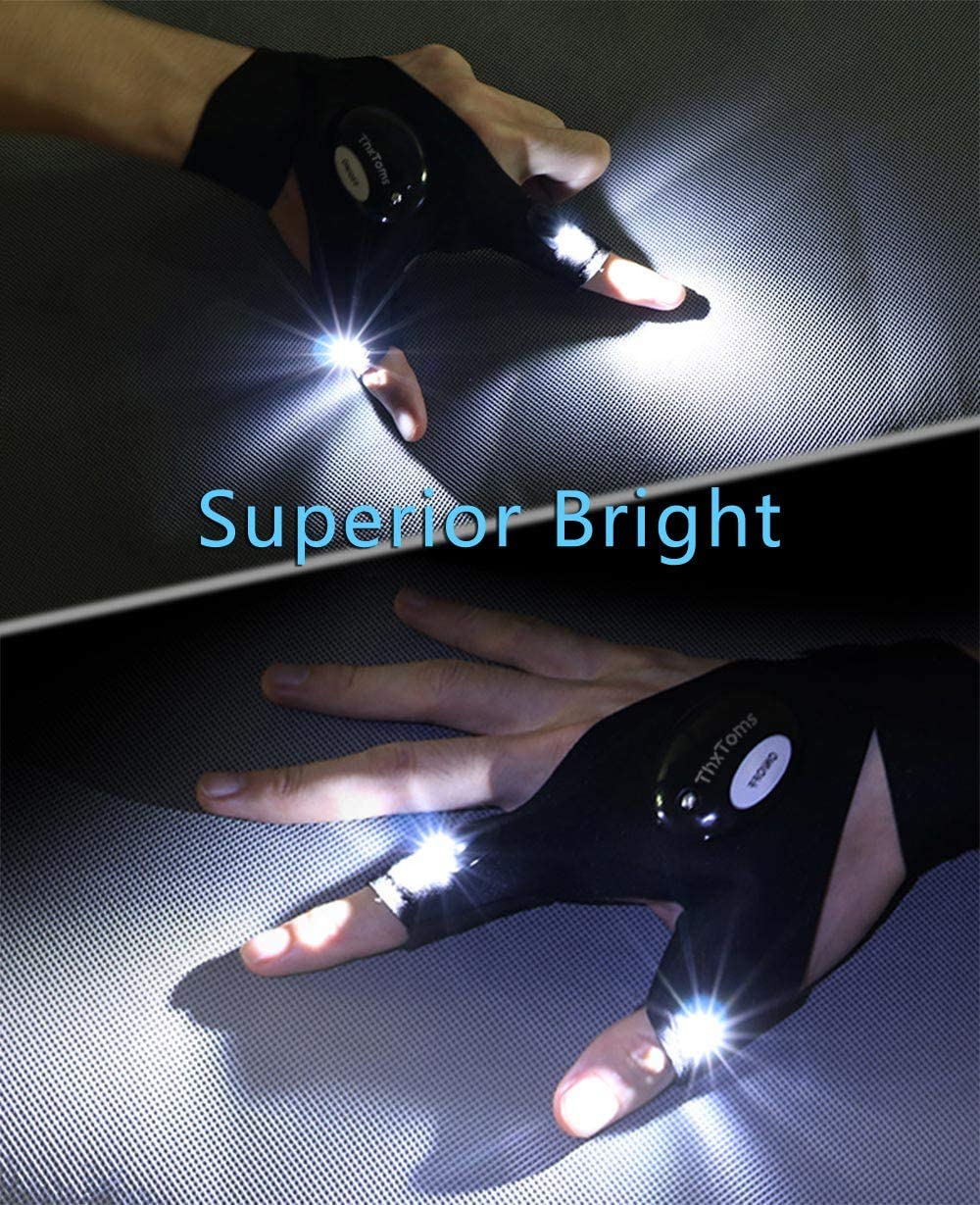 ThxToms LED Flashlights Gloves, Men/Women Tool Gadgets Gifts for Handyman, Fishing, Repair, 1 Pair