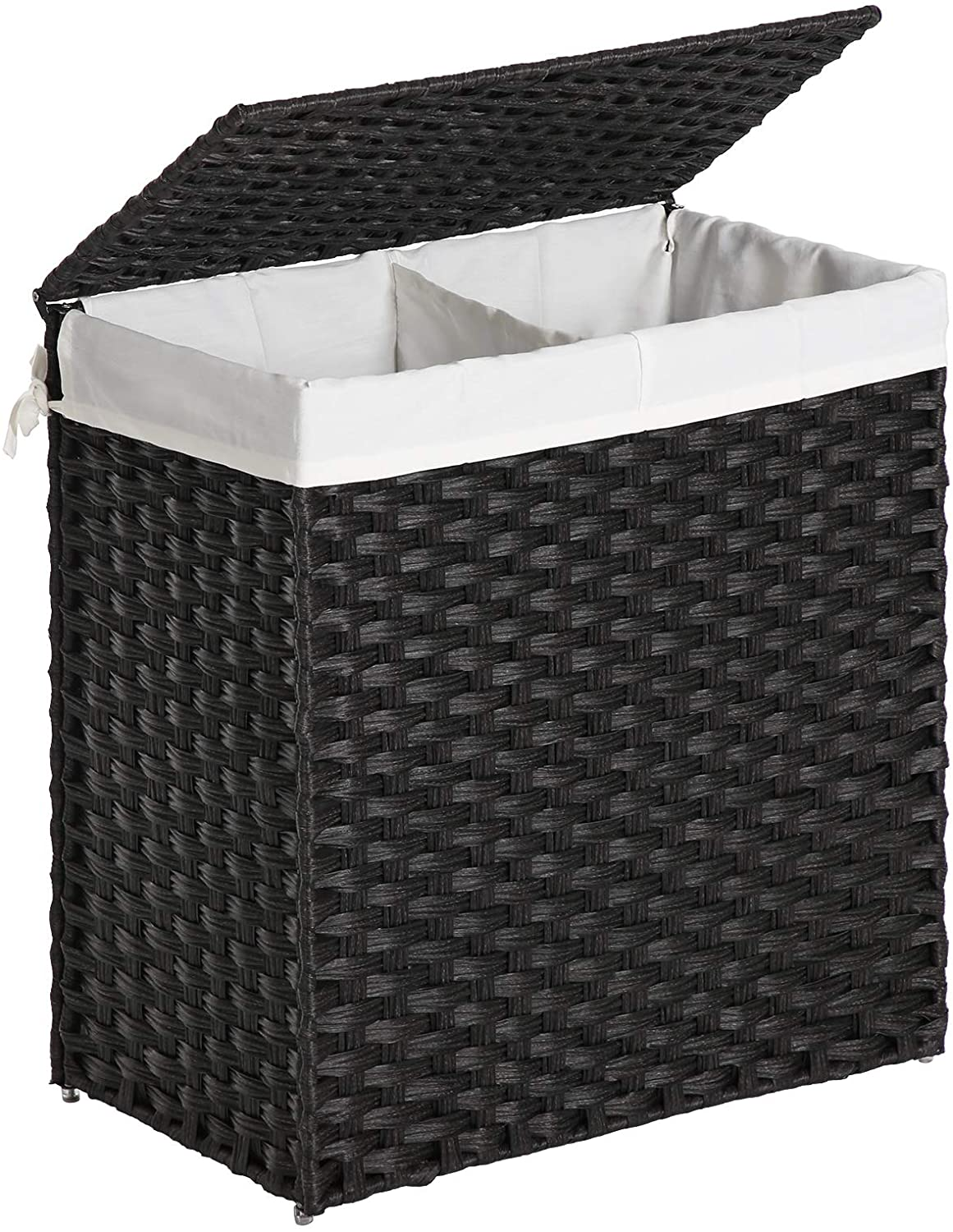 SONGMICS Divided Laundry Hamper, Handwoven  Laundry Basket, Synthetic Rattan Clothes  Hamper with Removable Liner Bag, Black ULCB52BK