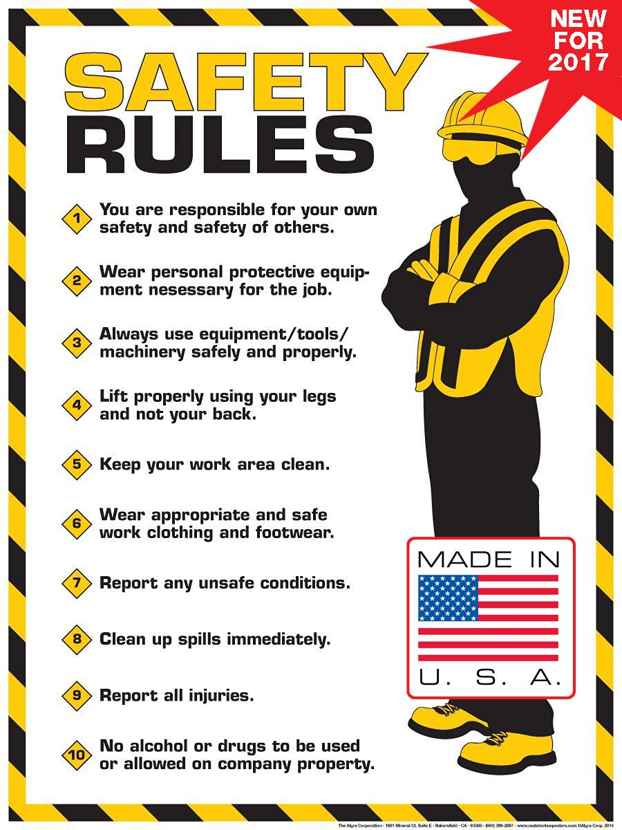Workplace safety posters - Amazon Com Workplace Safety Rules Poster 18 X 24 Poster Bruce Algra Home Kitchen