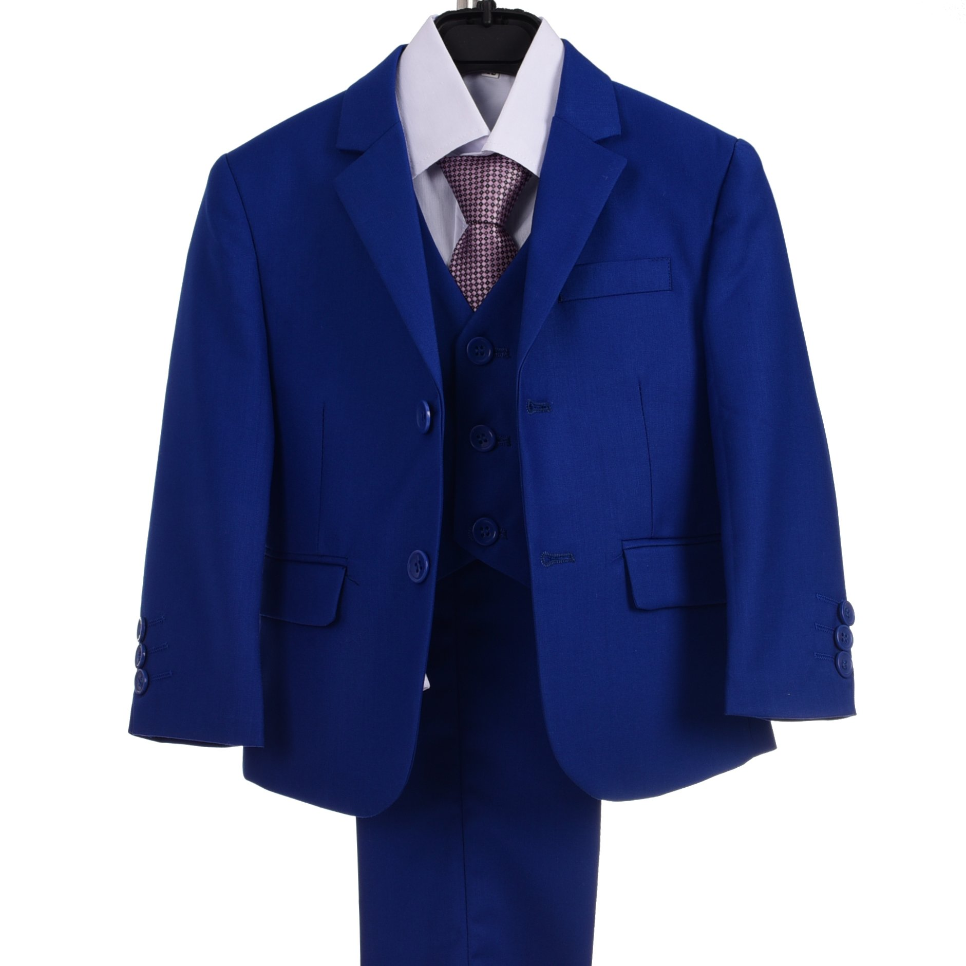 Dressy Daisy Boys Formal Dress Suits 5 Pcs Set Modern Fit Wedding Outfit Dresswear Size 7 Royal Blue