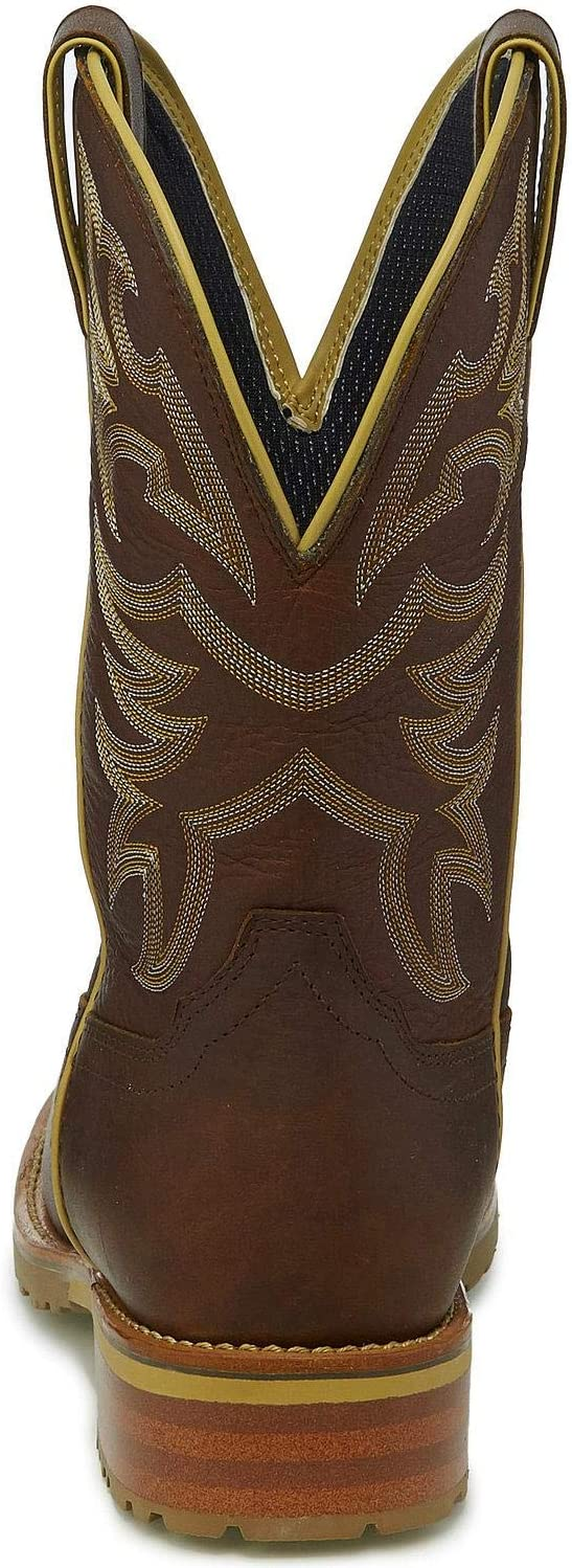 Justin Mens Marshal Whiskey Western Work Boot Square Toe Cognac 9 D