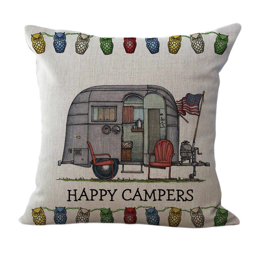ChezMax Linen Blend Happy Campers Cushion Cover Cotton Pillowslip Square Decorative Throw Pillow Case 18 X 18