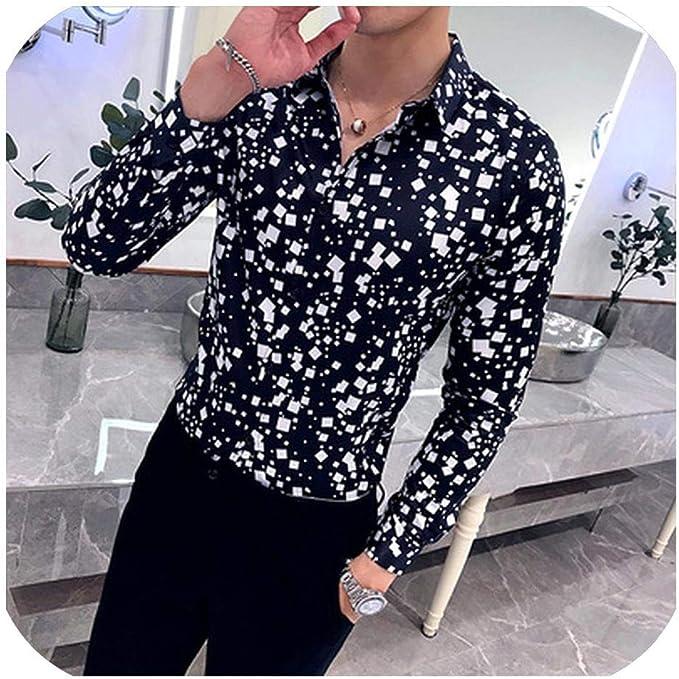 Mens Slim Fit Shirt Button Down Plaid Long Sleeve Work Casual Shirt Plaid Casual Dress Shirts Stretch Plaid Shirt