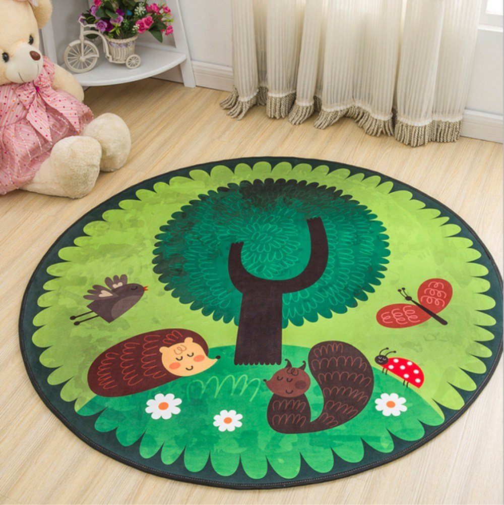 Annlaite Cartoon Animal Round Carpet Area Floor Rug Doormat 4-Feet Round Area Rugs (47.2inch, SS)