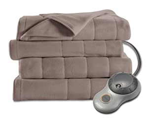 Sunbeam Heated Blanket | 10 Heat Settings, Quilted Fleece, Mushroom, Queen