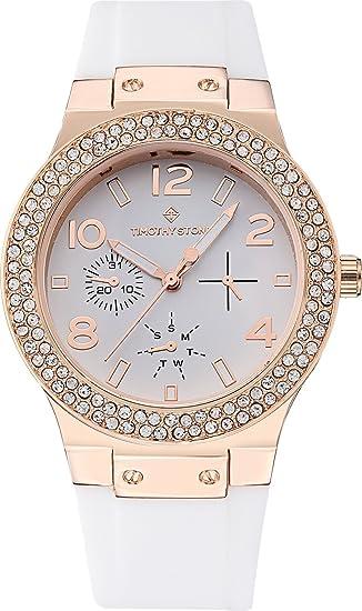 Timothy Stone Coleccion FAÇON Silicone - Reloj Mujer de Cuartzo, Color Oro Rosa/Blanco: Amazon.es: Relojes