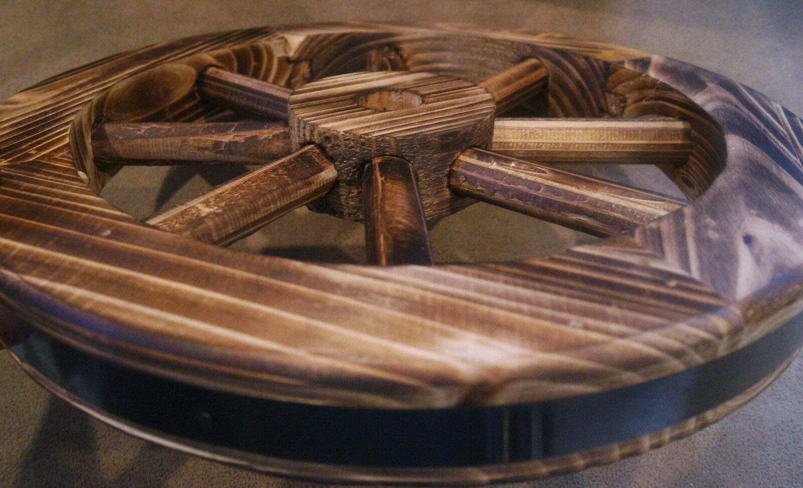 Galapagoz Wooden Wagon Wheels Burnt Wood Wheel Look Garden Decor Table Centerpiece Decorative 12'' 2 Pack US by Galapagoz (Image #5)