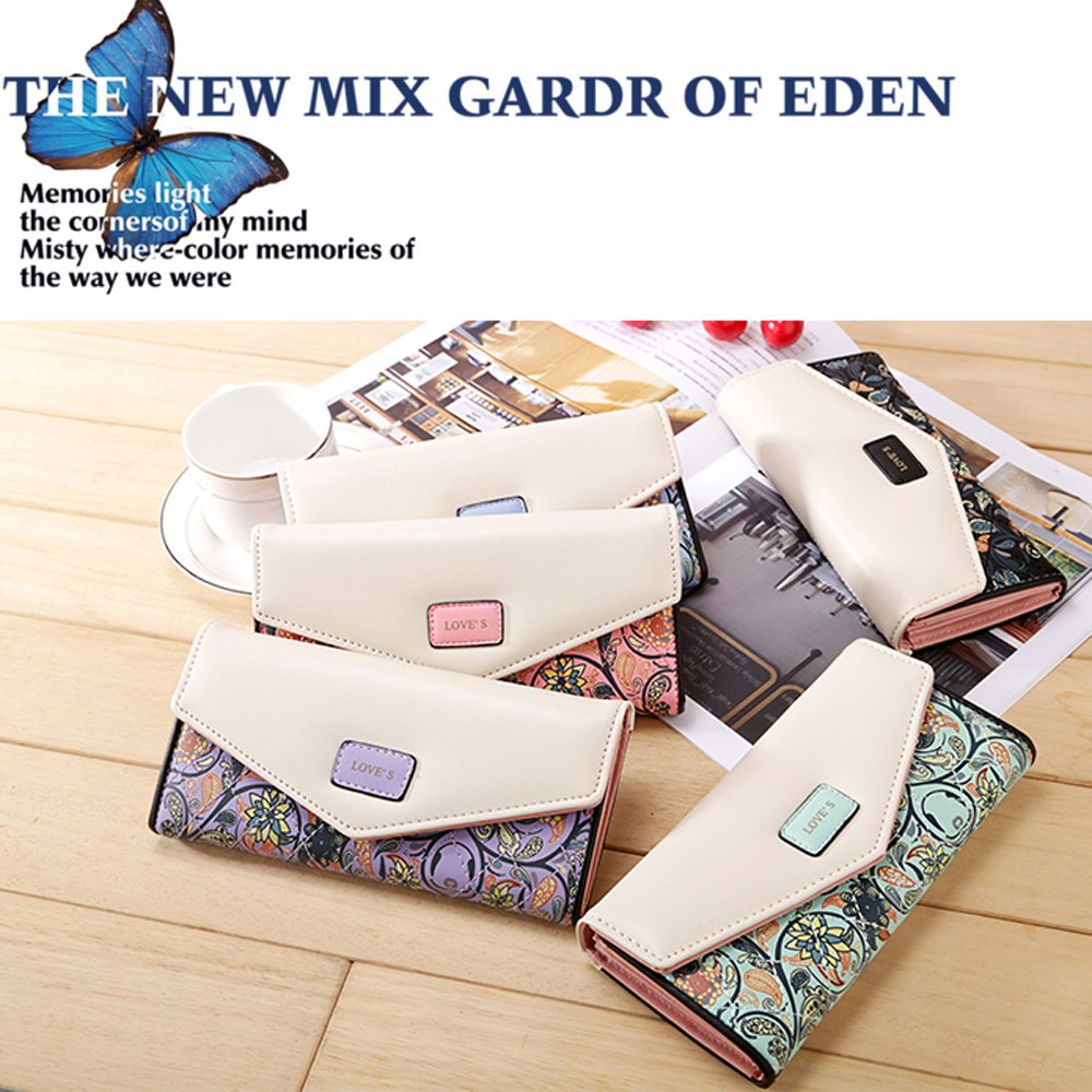 Womens Leather Wallet Purse Handbag Floral Money Clips Credit Card Case Holder by Uopen Endy (Image #6)