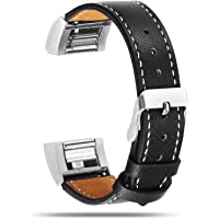 Genuine Leather Strap Wrist Band for Fitbit Charge 2 Replacement with Metal Clasp Connector Adjustable