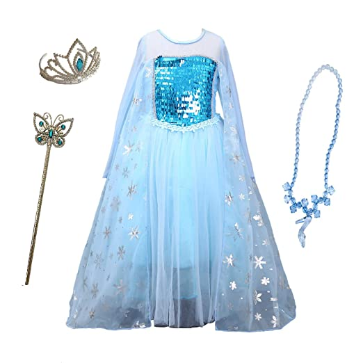 d6023f351f Snow Queen Princess Frozen Dress Elsa Costumes for Children's Day Birthday  Party Cosplay for 3-12Y Girls