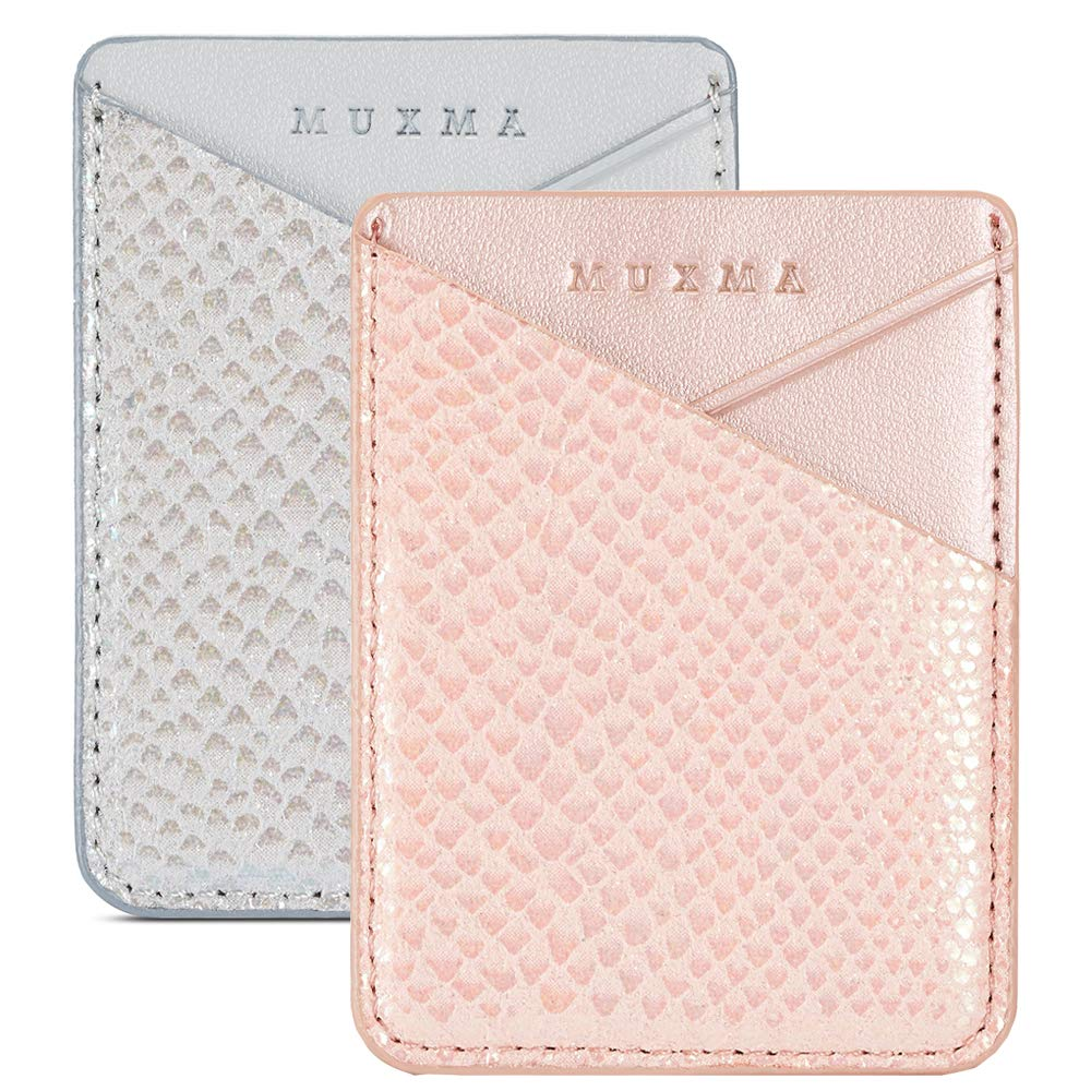 Cell Phone Card Holder, Stick on Wallet for Back of Phone, 3M Adhesive Ultra Slim Phone Pocket ID Credit Card Holder Sleeves Pouch Compatible iPhone, Samsung Galaxy, All Smartphones (Grey/Pink)