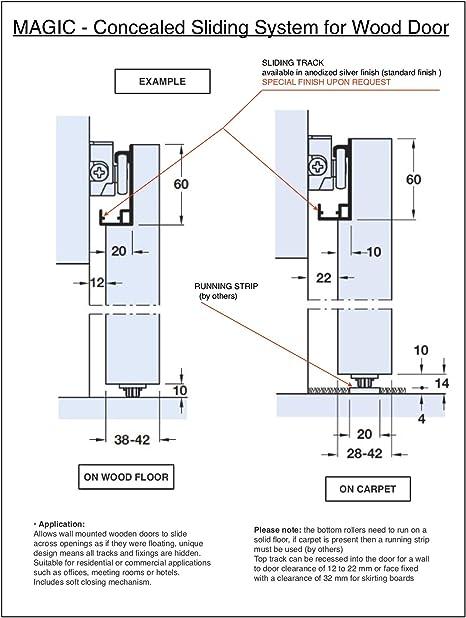Magic 2 Sistema de puerta corredera/granero oculta: Amazon.es: Bricolaje y herramientas