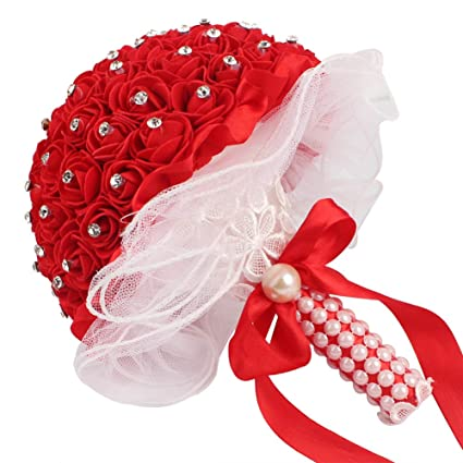 AerWo Bridal Bouquets - Red Wedding Flower Bouquet Handmade Rose Rhinestone  Pearl Bridal Bouquet Artificial Silk d3d1434c6