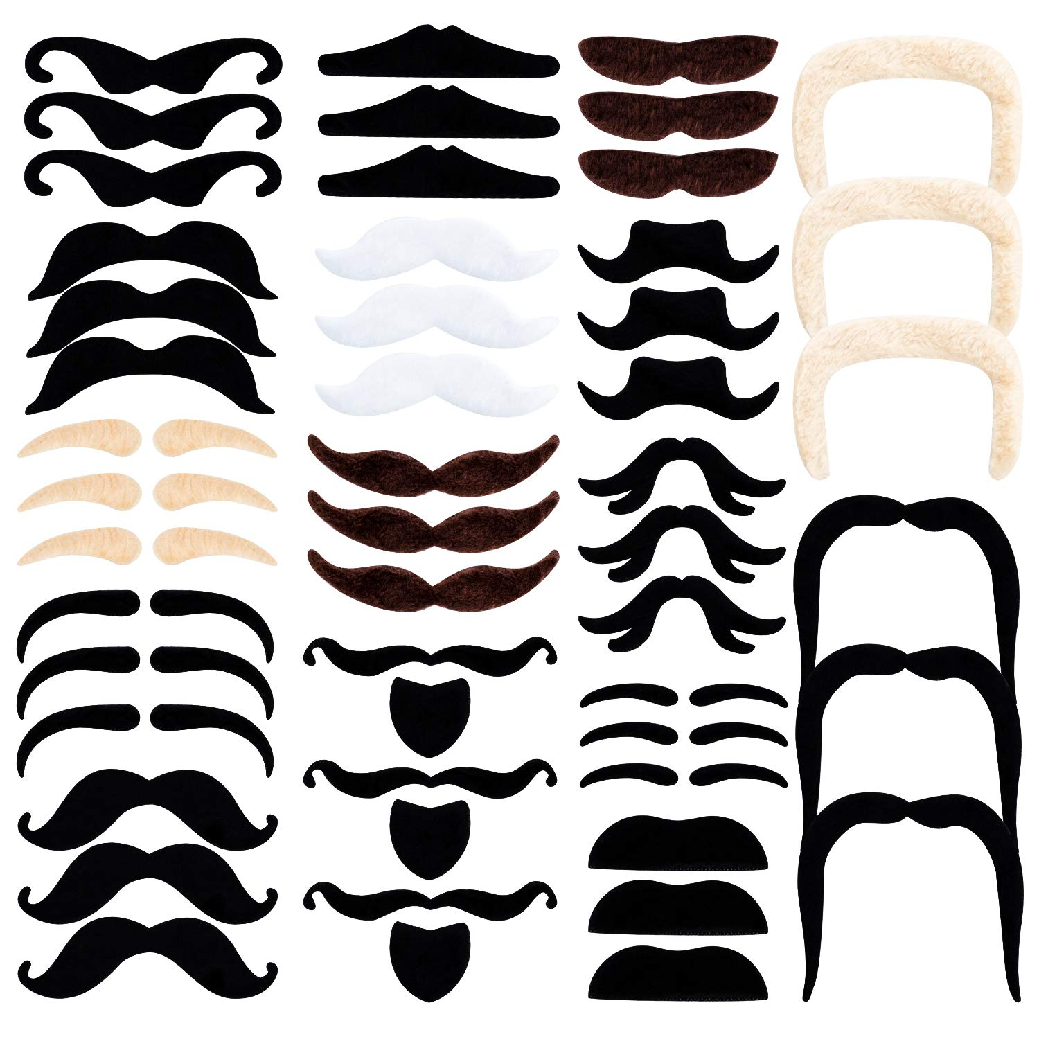 Whaline 48 Pack Novelty Fake Mustaches Self Adhesive Halloween Mustache Set for Masquerade Party Favor, Costume and Performance